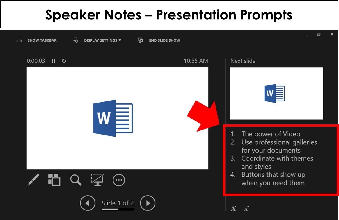 Example of speaker notes as presentation prompts in the Presenter View