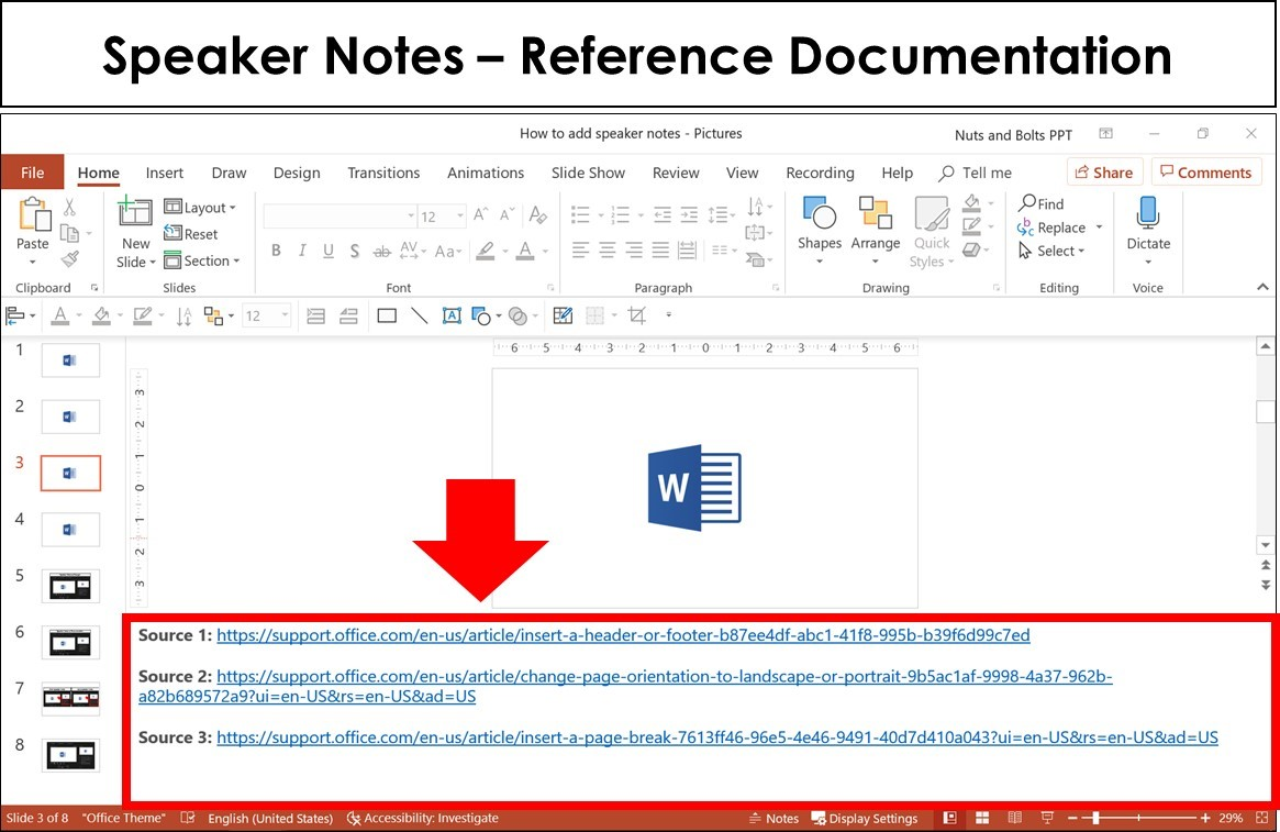 Example of speaker notes being used as reference documentation in the notes pane of PowerPoint