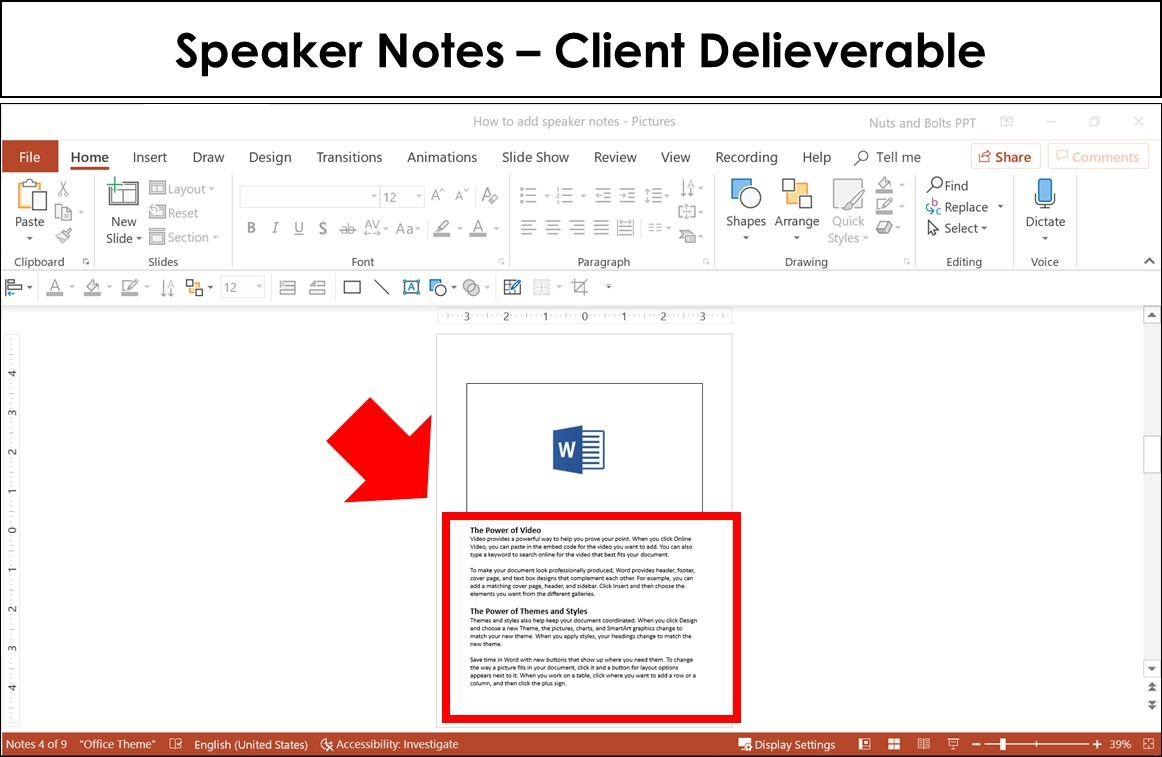 speaker notes being used as the final client delieverable in the Notes master view