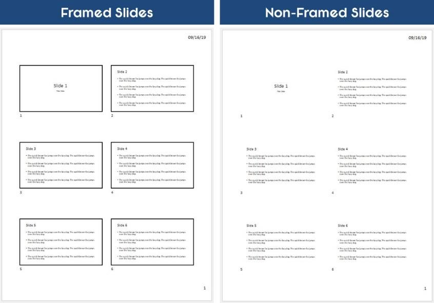 Example of the frame slides printing option selected when printing multiple slides on one page