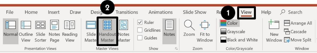To open the Handout Master in PowerPoint, click the view tab and then select the Handout Master icon