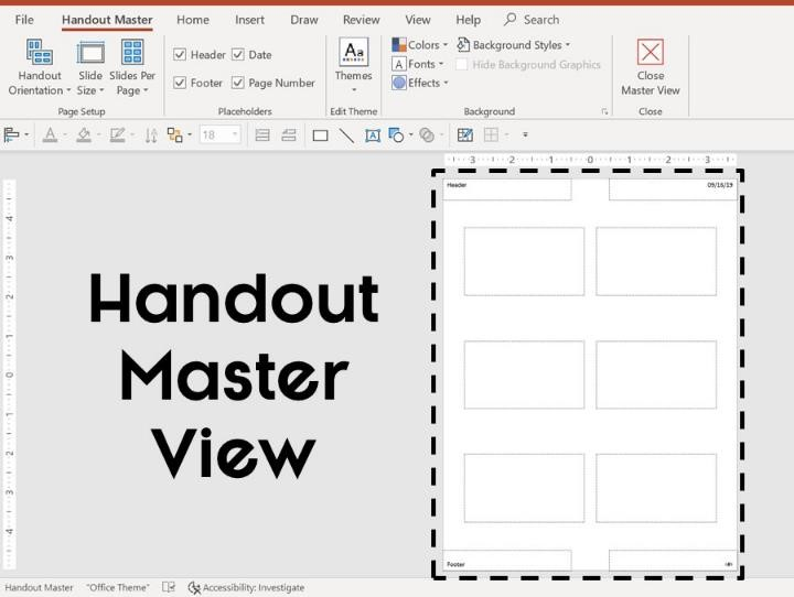 Picture of what the blank handout master in PowerPoint looks like