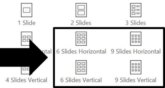 Examples of the 6 slides per slide and 9 slides per slide layouts available in PowerPoint