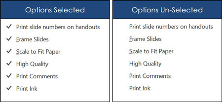 Handout printing options selected and unselected