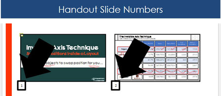 Example of slide numbers on PowerPoint handouts