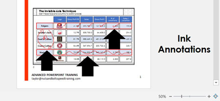 Example of printing ink annotations on your handouts in PowerPoint