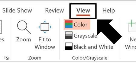 Click the View tab in your PowerPoint ribbon