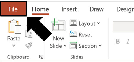 Click the File tab to get to the backstage view in PowerPoint