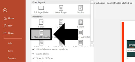 Select 4 slides per page in the handouts section
