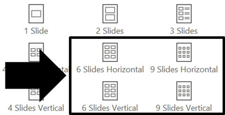 Handout options for printing 6 slides per page and 9 slides per page in PowerPoint