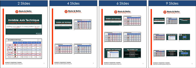 Examples of printing different numbers of slides per page as handouts
