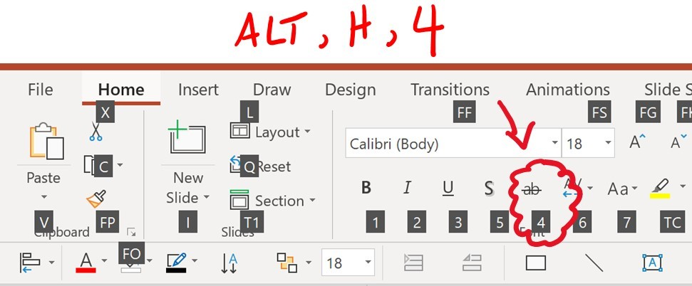 Hit Alt then H then 4 on your keyboard to apply the strikethrough effect in Microsoft PowerPoint