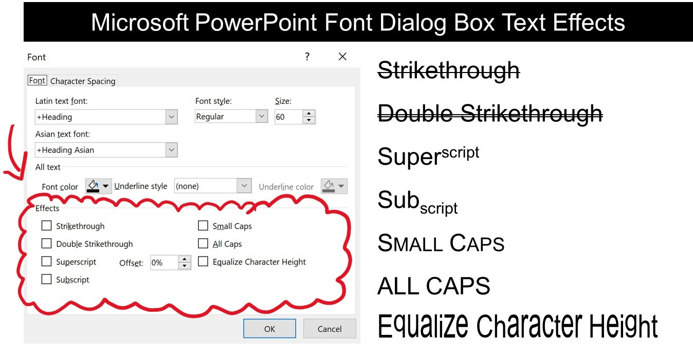 Examples of the different text effect options available in the Font group in Microsoft PowerPoint