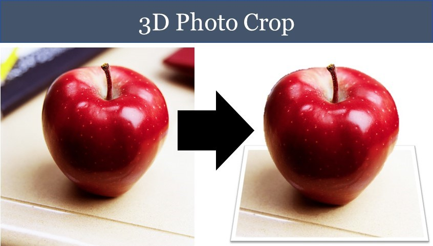 Example of an apple image cropped into a 3D picture using the out of bounds effect