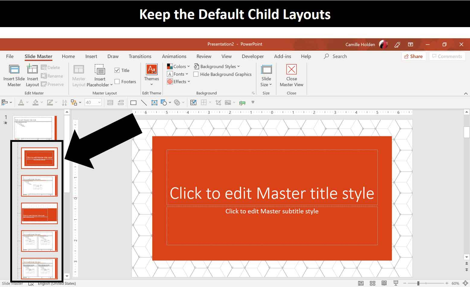 Don't delete the child slide layouts on your slide master if you are saving your presentation as a template