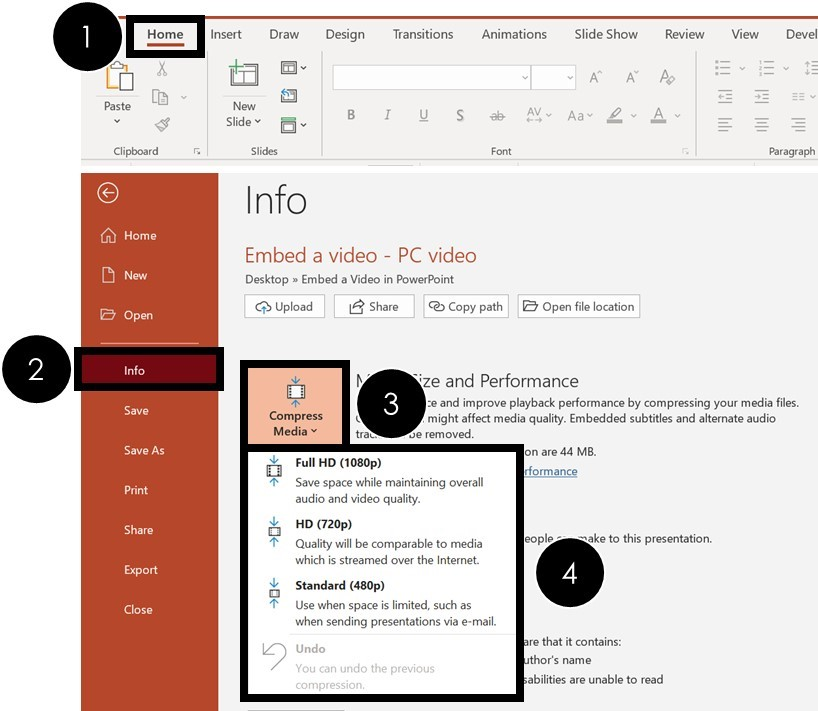 To compress a video in PowerPoint, click the file tab, select info, open the Compress Media options and choose a compression resolution