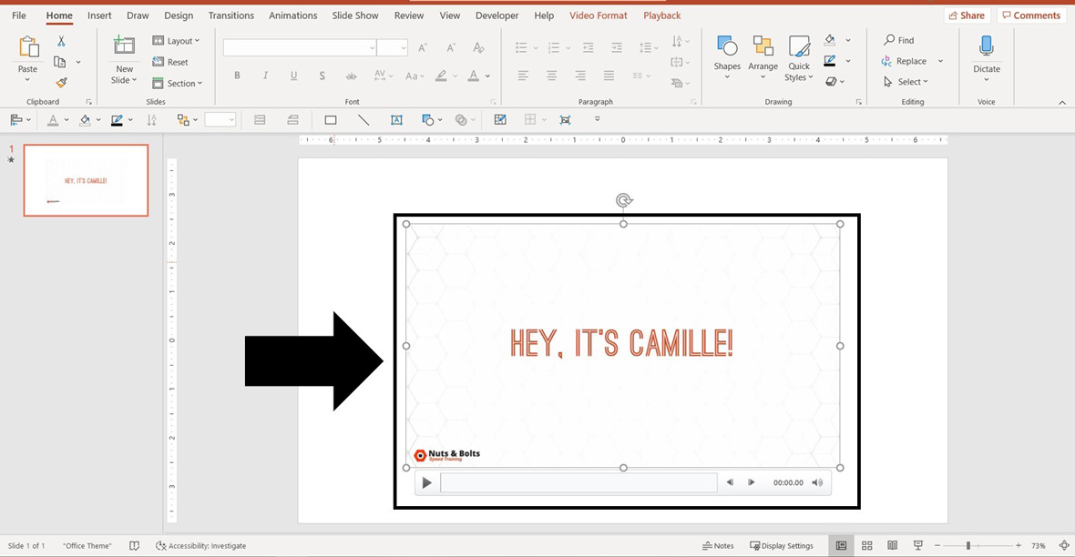 Example of a video embedded in a PowerPoint slide
