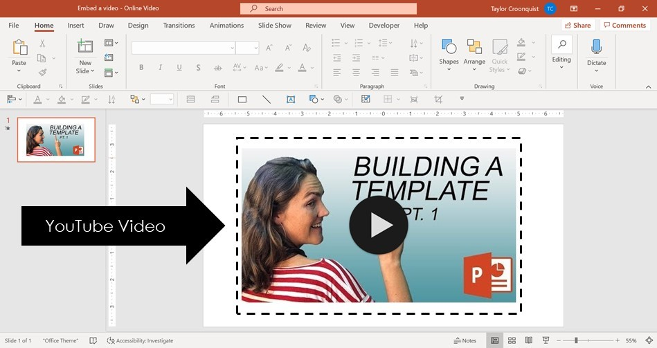 Example of a YouTube video embedded in a PowerPoint slide