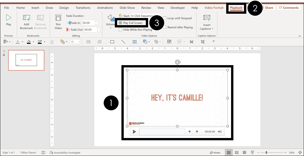 To make a video play full screen in PowerPoint, select your video, Playback tab and select Play Full Screen