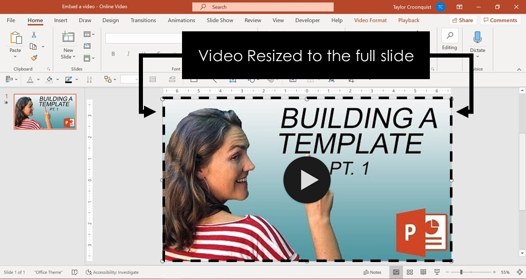 Example of resizing an online video in PowerPoint so that it will play full screen during a presentation