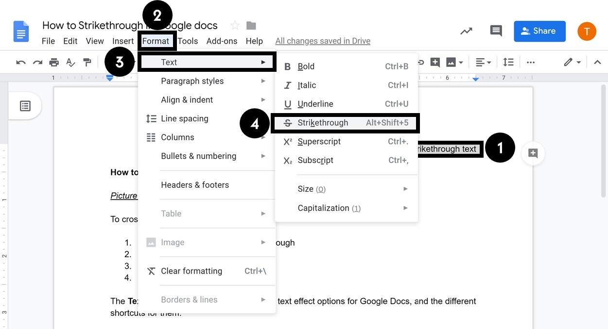 To cross out text in Google docs, select your text, Format menu, Text options and select Strikethrough