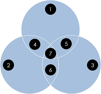 Example of an overlapping venn diagram fragmented out into 7 individual pieces