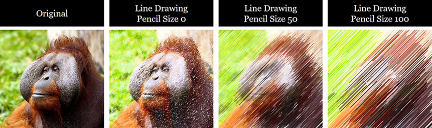 Examples of different pencil sizes applied to the line drawing effect in PowerPoint