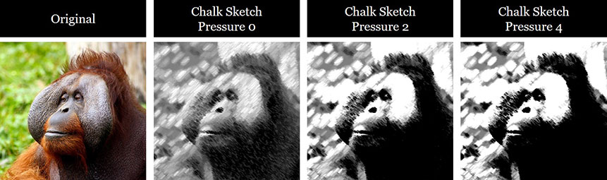 Examples of different pressure sizes applied to the Chalk Sketch effect