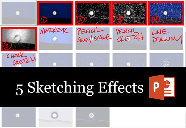 Picture of where the 5 sketch effect options in PowerPoint are in the Artistic Effects drop down