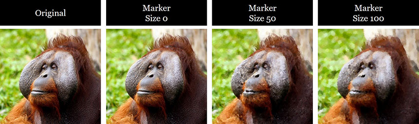 Examples of different marker sizes applied to the marker sketch effect
