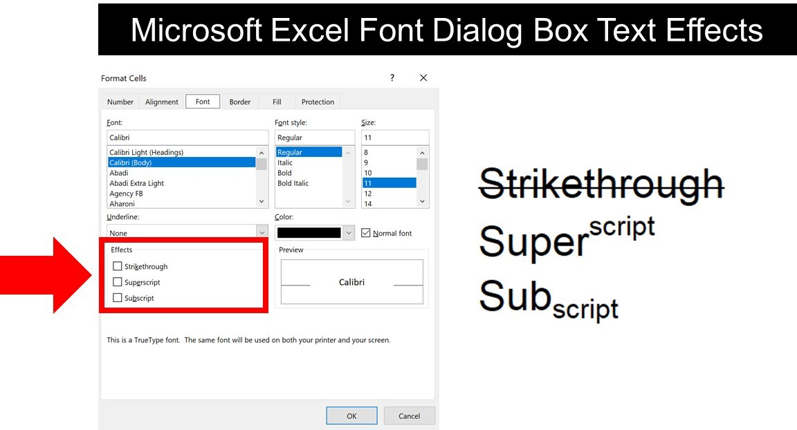 Examples of the different text effect options available to you in the Format Cells dialog box in Microsoft Excel