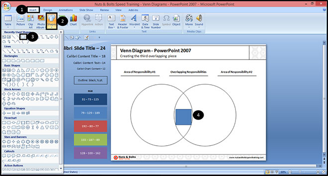 How To Create A Venn Diagram  U0026 Format The Overlapping Circles