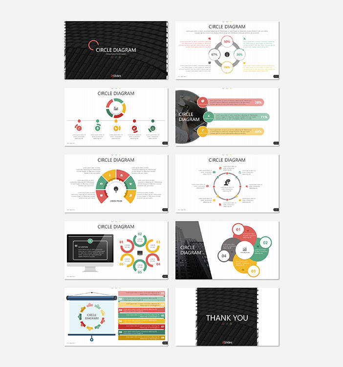 Example slides from the Circle Diagrams Presentation template by 24 Slides