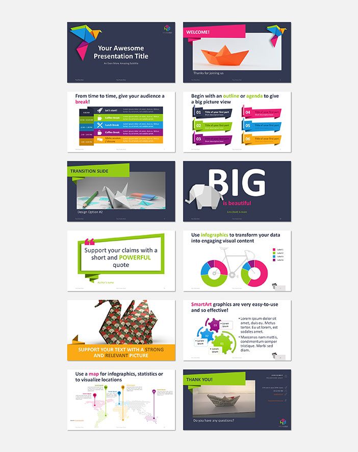 Sample slides from the Origami PowerPoint template by Showeet