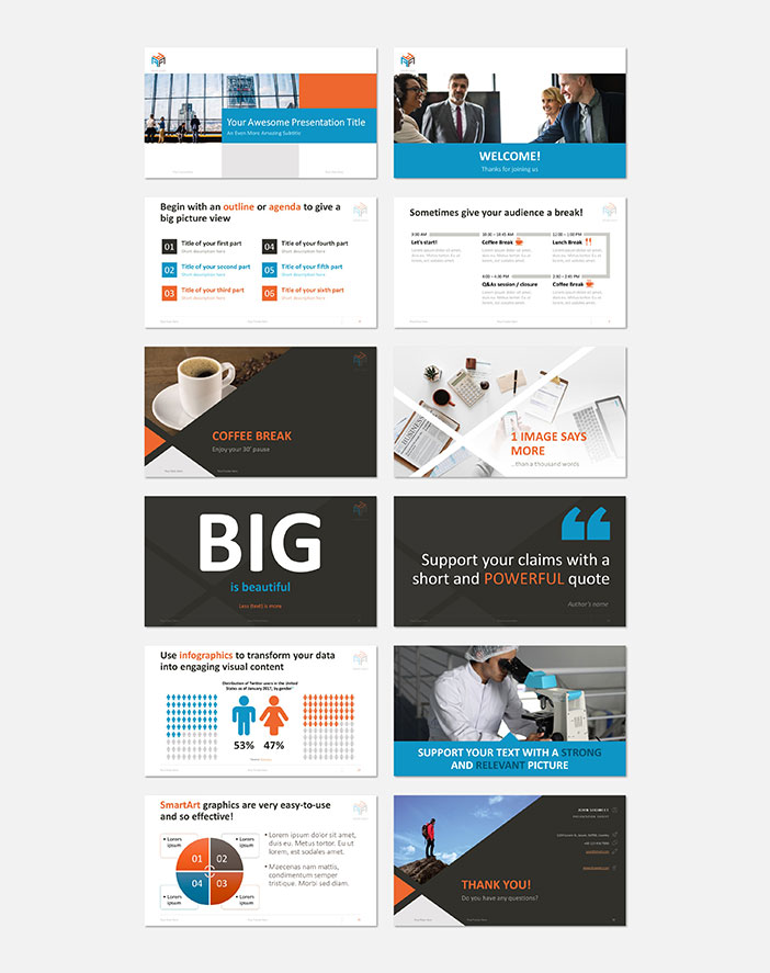 Example slides of the Corporate Business PowerPoint template by Showeet