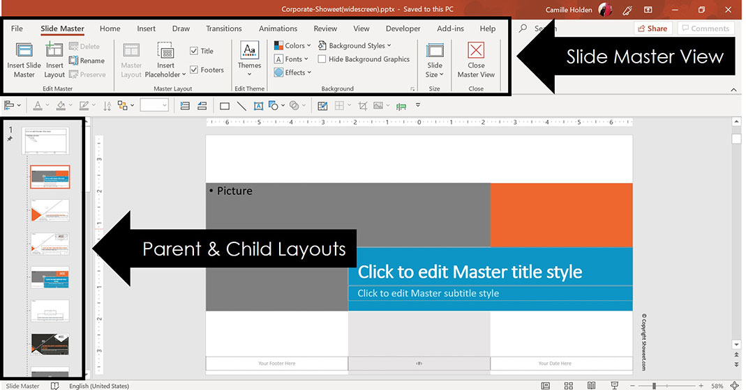 Slide master view of the corporate template by Showeet