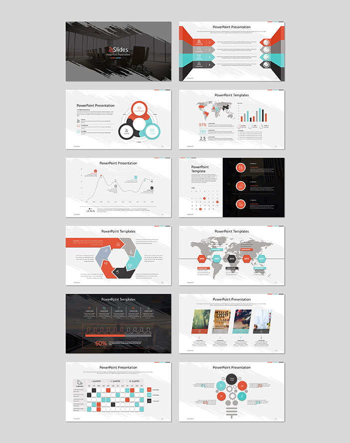 Example slides from the free 26 slide corporate template pack by 24 Slides
