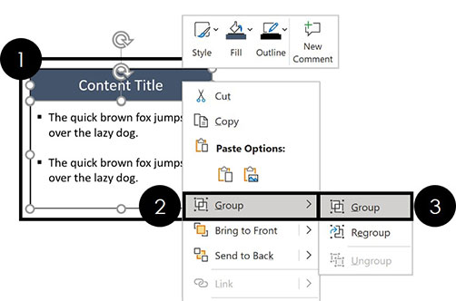 Right-click your selected objects and select the group command to group your objects together