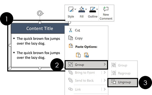 Right-click a group of objects, select Group and then Ungroup to ungroup your objects