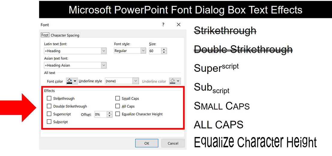 Text effect options in powerpoint