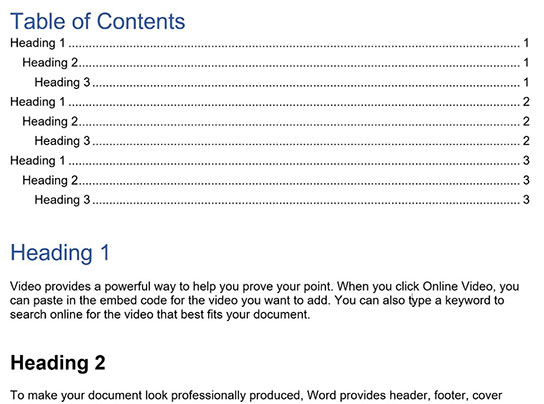 Example of a properly formatted table of contents in word