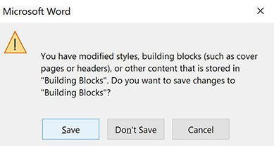 Microsoft Word warning asking if you want to save the modified styles you've made to your document