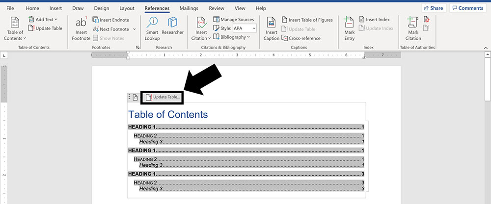 The update Table command inside your table of contents