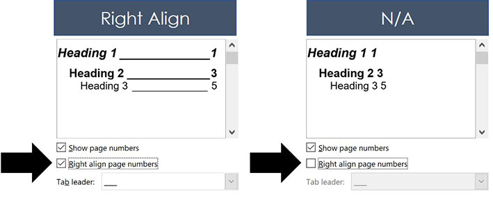 Selecting and un-selecting the Right align page numbers option