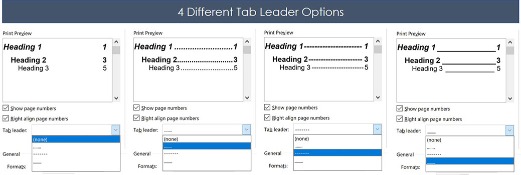 The four tab leader options for table of contents in Word