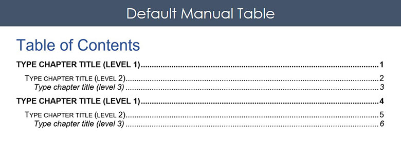 Default manual table in Microsoft Word before you format it