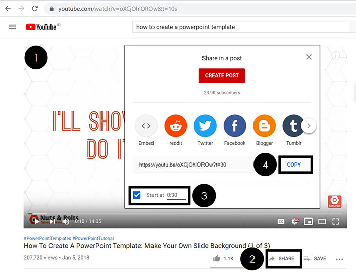 To adjust the start time of your YouTube video, click the share button, ajust the Start At counter and then click copy