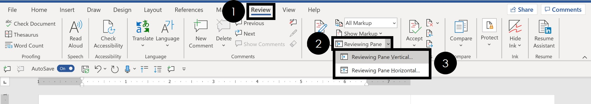 Navigate to the review tab and select the Reviewing Pane to navigate your comments in word