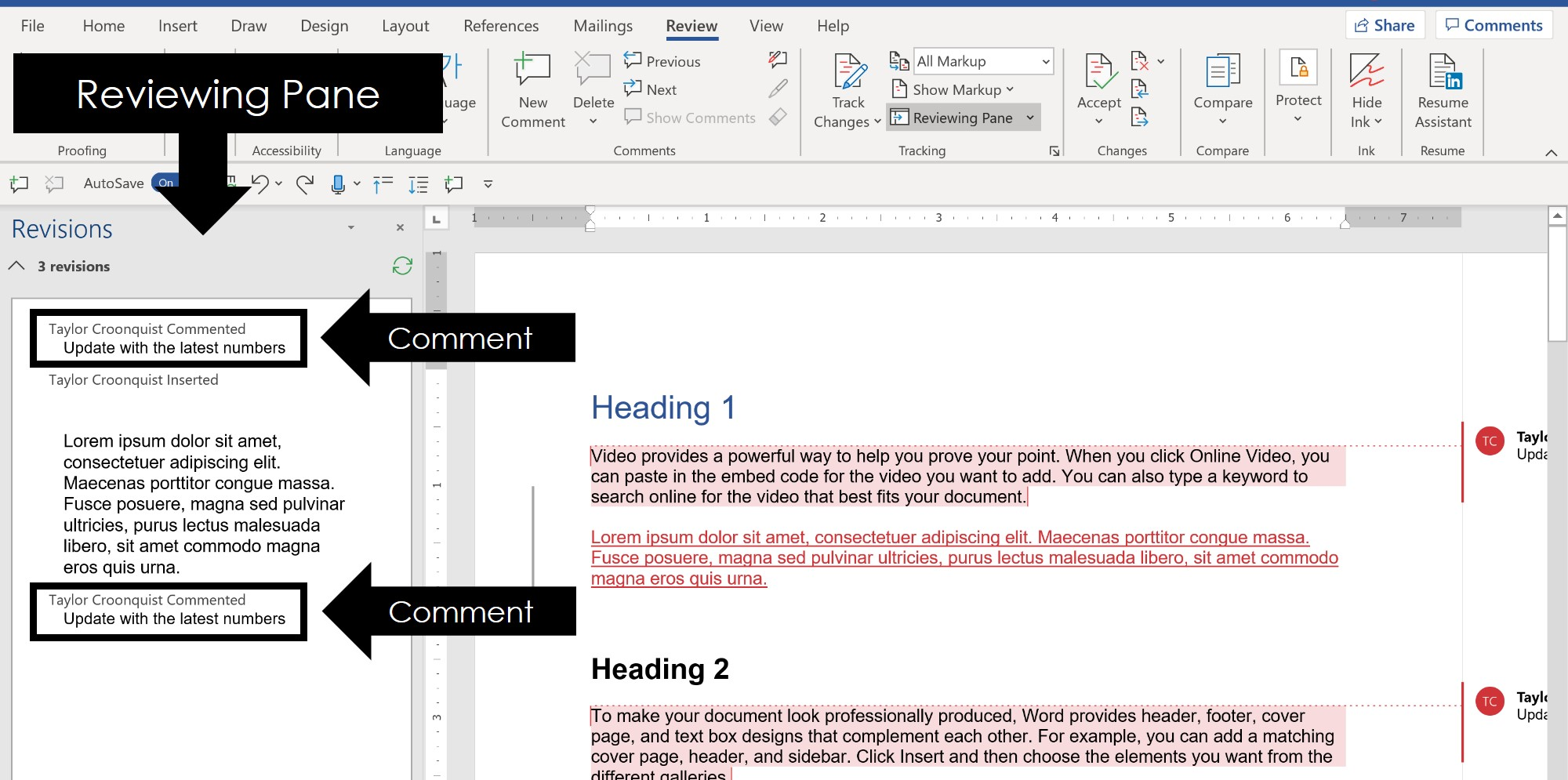Inside the reviewing pane in word you can see any tracked changes and comments inside your document