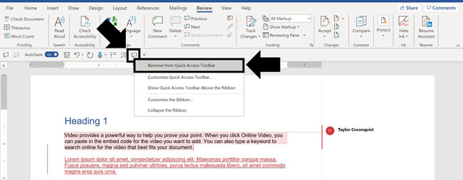 right-click and select remove from quick access toolbar